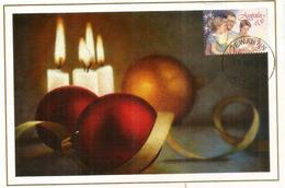 La Nativité, Boules De Noël Et Bougies,   Belle Carte-maximum D'Australie - Maximum Cards