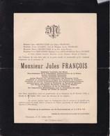 CHARLEROI Jules FRANCOIS Ingénieur Conseiller Communal Conseiller Provincial Hainaut  Charbonnages 1869-1908 DELBRUYERE - Obituary Notices