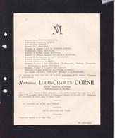 KEUMIEE VELAINE-SUR-SAMBRE Louis-Charles CORNIL 1882-1932 Conseiller Provincial Famille MISONNE De QUIRINI - Obituary Notices