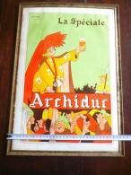 Brasserie Duvieusart Nivelles - Plaque Publicitaire En Carton La Spéciale - Archiduc 50x35 - Dessin Jean Dratz - Plaques En Carton