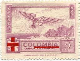 Lote CR14, Colombia, 1954, Sello, Stamp, Cruz Roja, Red Cross, Resello, Over Printed In Carmine, Bird - Colombia
