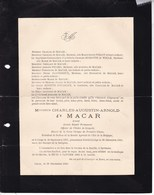 LIEGE SPRIMONT Charles-Augustin De MACAR Ancien Député Permanent 1827-1900 Famille PIRLOT - Obituary Notices