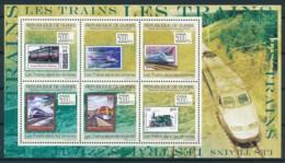 NB - [400819]Guinée 2009 - BL4498/4503, Trains, Etats-Unis, France, îles Marshall, Inde - Trains