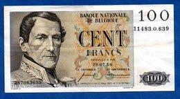 Belgique -  100 Francs 28/07/1958  - état  TTB - 100 Francs