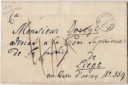 -Précurseur 1834,départ De Munster Vers Liège-Cachet ALLEMAGNE Par HERVE -Double Perception - 1830-1849 (Belgique Indépendante)
