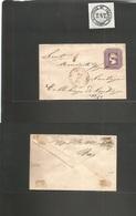 Chile - Stationery. C. 1876-7. San Antonio De Aquilon Estación - Santiago 5c Intense Lilac On Plain Ivory Paper. Fine An - Chile
