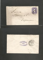 Chile - Stationery. 1892 (Aug) Los Anjeles - Valp (12 Aug) 5c Lilac Stat Env, Doble Line Wmk, NY - II - K Printer 139x81 - Chile