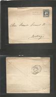 Chile - Stationery. 1902 (7 Jan) San Clemente - Santiago. Via Talca 5c Blue Stat Env With PROVISIONAL Manuscript Date. - Chile
