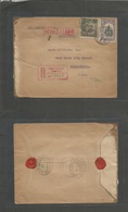 Chile - Xx. 1911 (13 Ago) Iquique - USA, Phila (7 Sept) Registered Fkd Env. Better Ovptd Islas J. Fdez + 30c Lilac, Tied - Chile