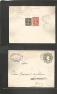 Chile - Stationery. 1913 (14 Abr) Concepcion - San Bernardo (15 April) 5c Grey Stat Env + Reverse 2 Adtl Incl 1c Orange  - Chile