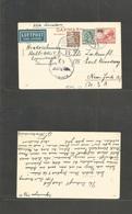Denmark. 1941 (17 Febr) Cph - USA, NYC- 25 Ovptd Red Air Nazi Censored Stat Card + 2 Adtls. Via Lisbon. - Denmark