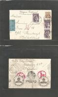 Denmark. 1942 (14 Feb) KPH - Germany, Hamburg (18 Feb) Air Express Multifkd Envelope. Addresed To DAF Reverse Nazi Censo - Denmark