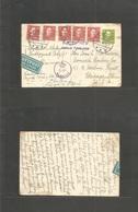 """Denmark. 1945 (16 June) Aarhus - USA, Chicago, Ill. 15o Green Stat Card + 5 Adtls + Doble Lines """"Kassebrev / Aarhus Post - Denmark"""
