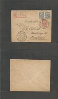Estonia. 1921 (12 March) Viljandi - Sweden, Stockholm. Registered Multifkd Perforated Issue + Red R-cachets Tied Cds. Fi - Estonia