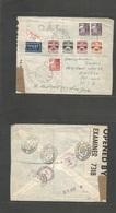 Faroe Isl.. 1943 (3 Jan) British Occupation Ovptd. Thorshavn - USA, Chicago Ill (29 Jan - 6 Feb). Registered Air Multifk - Faroe Islands