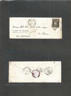France. 1849 (7 Dec) Versailles - Havre (8 Dec) Small Envelope With Contains Fkd 20c Black (Yv. 1) Good Margins, Tied Gr - France