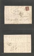 France. 1849 (14 Dec) Marseille - Lyon. EL Full Text Fkd Single 1fr Carmin, Tied Grill. Signed Calves + Pavoille. VF. - France