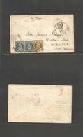 "France. 1853 (25 Oct) Paris - USA, Grotou, Mass. Par Havre. Fkd Env Repub Fr. 10c  + 25c Pair, Tied Dots ""NY Am Packet N - France"