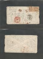 France. 1867 (13 Nov) Nice - USA, PA, Eddington. Fkd Env 40c (x2); 2656 Tied, With Contains. Via NY / Br. Pact / Nov 26  - France
