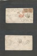"""France. 1867 (Nov 20) Nice - USA, PA, Eddington, Bucks Cº. Fkd Env 40c (x2) """"2656"""" Tied + Red """"3"""" Internal Via NY / 3 Di - France"""