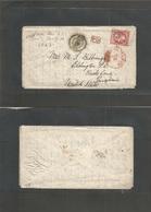 France. 1867 (25 Dec, Christmas Day) Nice - USA, Eddington, PA, Via NY / British Packet (Jan 10) Fkd Env 80c Red, Tied N - France