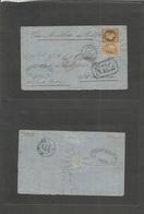 "France. 1868 (11 April) Le Havre - Cuba, Habana. Multifkd 6e (part Of Flap Gove) 10c + 40c, Tied ""1769"" + ""NE2"" Box Per  - France"