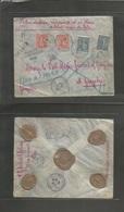 France - Xx. 1904 (15 Aug) Paris - Zanzibar. Registered Insured 51 Francos / 330 Rupees Value Multifkd Envelope. Semeuse - France