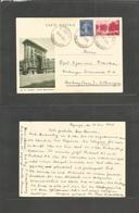 France - Stationary. 1938 (19 May) Hayange - Germany, Hamburg (Sarre) 90c Red St Denis Illustrated Stat Card + 10c Blue  - France