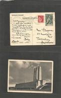 France - Stationary. 1938 (27 July) Paris - UK, Twickenham. 50c Green Illustr. Stationary Postcard (Canadian Memorial) + - France