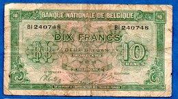 Belgique  -  10 Francs 01/2/1943  - état  B+ - [ 2] 1831-... : Koninkrijk België