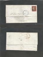 Great Britain. 1842 (5 Mar) Truro - London (7 Mar) EL Full Text Fkd 1840 Plate 1d Red, Tied BLUE Maltese Cross + Cds. Ni - Great Britain