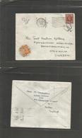 Great Britain - Xx. 1936 (25 Aug) London - Sweden, Stockholm (27 Aug) Fkd 1 1/2d Censor + Taxed + Arrival. 20 Ore Orange - Great Britain