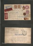 Great Britain - Xx. 1939 (14 Feb) Birmingham - Netherlands, Amsterdam (15 Feb) Registered Insured 4 1/2d Stat Envelope + - Great Britain