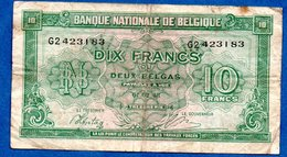 Belgique  -  10 Francs 01/2/1943  - état  TB - [ 2] 1831-... : Royaume De Belgique