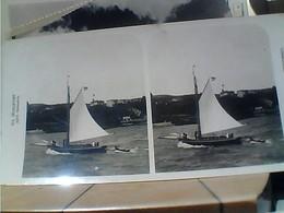 STEREOSCOPICA TURCHIA  NAVE SHIP  VELA ARTIEN GESELLSCHAFT TRAUCHA SEGELSPORT XXIV HEIMWARTS 1900 HA7390 - Cartoline Stereoscopiche