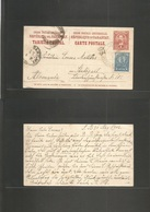 Paraguay. 1902 (31 Aug) San Bernardino - Germany, Stuttgart (4 Oct) 4c Red Stat Card + Adtl Blue Cds. VF. - Paraguay