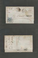 "Peru. 1862 (10 Agosto) Lima - Caxas. EL Full Text Fkd Un Dinero Blue, Tied Romboid, Box + Cds ""11AGO"" + Held For Postage - Peru"