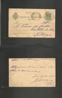 E-Enteros Postales. 1900 (24 Ago) Valencia De Alcantara, Cáceres - Portugal, Castelho De Vida (25 Ago) EP 5c Verde. Prec - Unclassified