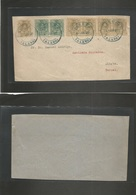 E-Alfonso Xiii. 1920 (4 Junio) 267º (5), 268 (2). Llodio, Alava - Teruel, Oliete. Precioso Franqueo Multicolor, Mat Azul - Unclassified