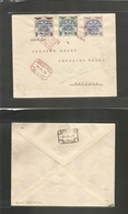 E-Canarias. 1937 (18 Julio) Las Palmas - Sevilla. Sobre Certificado Sobrecarga Local. Matasellos En Rojo (raro Color) - Unclassified