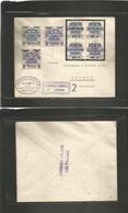E-Canarias. 1937 (5 Oct) Las Palmas - Alemania, Bremen. Sobre Franqueo Multiple Via Aerea. Sobrecargas Locales. - Unclassified