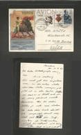 E-  Ii Centenario. 1966 (14 Junio) Monasterio De Montserrat, Barcelona - Suiza. Tarjeta Corrida De Toros Con Franqueo Añ - Unclassified