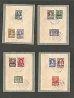 E-Sahara. 1926 (15 Sept) Cruz Roja, Sobrecargada. 4 Sobres, Con 12 Valores Diferentes, Usados Con Matasellos Especial. B - Unclassified