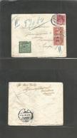 Sweden. 1912 (29 Oct) Denmark, Syenoborg - Hainosaud (31 Oct) Fkd Env + Taxed + 2 Swedish P. Dues + Tax Label, Tied Cds. - Sweden