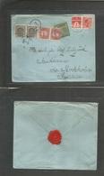 Sweden. 1918 (19 Aug) Denmark - Sandhamn Via Stockholm. Fkd + Taxed + 4 Swedish P. Dues + Tax Label, All Tied Arrival Cd - Sweden