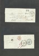 Switzerland. 1851 (9 Aug) Lausanne - Belgium, Bruxelles (12 Aug) Cash Paid / Franco / PD E. Depart Cds + Arrival + TPO R - Unclassified