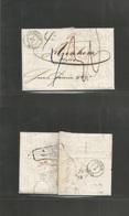 Switzerland. 1853 (3 June) Menziken - Netherlands, Arnhem (6 June) EL Stampless, Blue Depart Cds + 5 Or 6 Mns Charges On - Unclassified