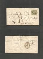 Switzerland. 1856 (12 Dec) Lugano - Italy, Genova (14 Dec) Per Chiaveri. Single 40c Imperf Sit Helvetia, Tied Romboid Gr - Unclassified