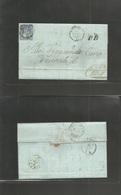 Switzerland. 1863 (15 Apr) Brusio - Como (16 Apr) Via Tirano - TPO Reverse Cds 10c Blue Fkd Env, Cds. VF. EL With Text. - Unclassified
