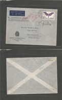 Switzerland - Xx. 1941 (8 July) Chaux De Fonds - South Africa, Port Elisabeth. Single 1fr Fkd Env + Aux Tax Further Post - Unclassified